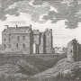 an old print of Brodick Castle on the Isle of Arran