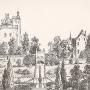 an old print of Drummond Castle, Perthshire