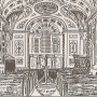old print of the interior of Great Whitley Church, Worcestershire