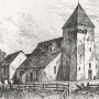 old print of Guestling Church, East Sussex