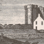 an old print of Inchdrewer Castle near Banff
