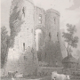 an old print of Llawhaden Castle, Pembrokeshire